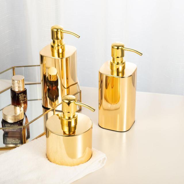 זהב (420ml & 300 ml) 304 נירוסטה נוזל סבון Dispenser Sanitizer יד בקבוק לאמבטיה
