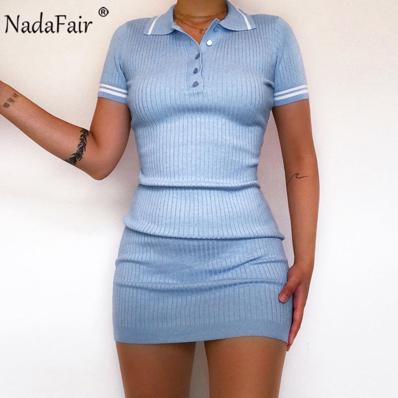 Nadafair Short Sleeve Knitted Bodycon <font><b>Women</b></font> <font><b>Dress</b></font> <font><b>Sexy</b></font> 2020 Casual Buttons Wrap <font><b>Blue</b></font> <font><b>Pink</b></font> Club Party Mini Summer <font><b>Dress</b></font> image