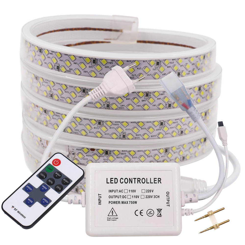 2835 LED Strip AC 220V 276Leds/m IP67 Waterproof Flexible Ribbon Tape Super Bright Three Row LED Light Strip With Remote Control