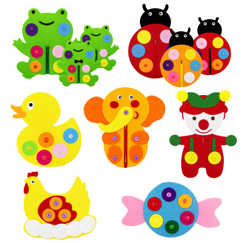 Zipper Button Teaching Kindergarten manual Diy Weave cloth Early Learning Education Handmade Toys Montessori Teaching Math Toys