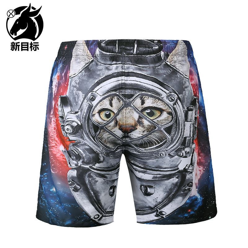 AliExpress 2019 Summer New Style Casual MEN'S Swimming Trunks Creative Animal Printed Shorts Popular Brand 3D Beach Shorts Men's