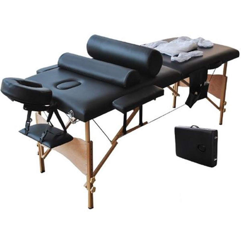 2 Sections Folding Portable SPA Bodybuilding Massage Table Set Black