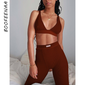 BOOFEENAA Sporty Rib Knit 2 Piece Set Crop Top and Pants Fall Winter Clothes for Women Two Piece Outfits Matching Sets C66-DC37