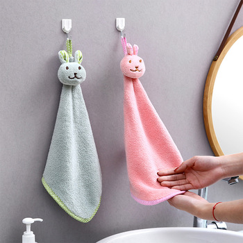 1Pc Kitchen Cartoon Animal Hanging Cloth Soft Plush Dishcloths Hand Towel Wipe Hanging Bathing Towel For Children Bathroom image