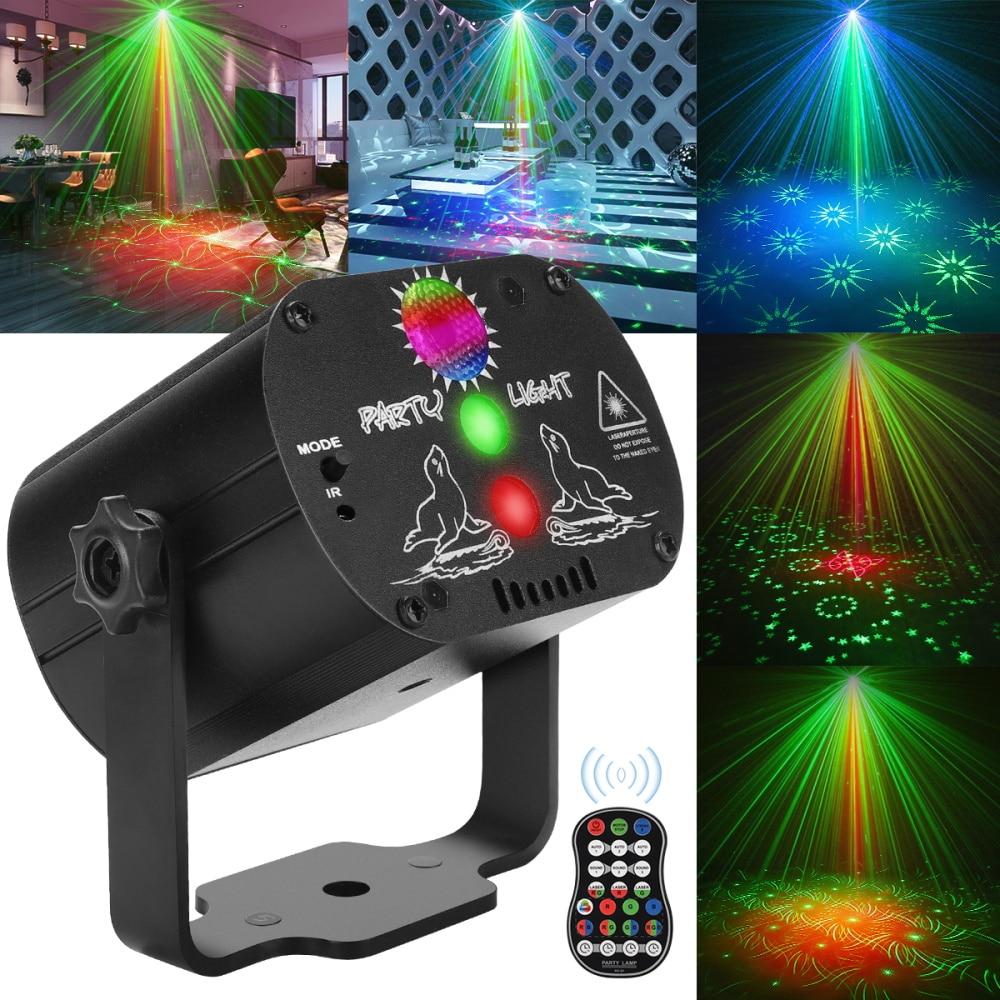 Мини RGB диско-светильник DJ светодиодный лазерный сценический проектор Красный Синий Зеленый светильник USB Перезаряжаемый для свадьбы, дня р...