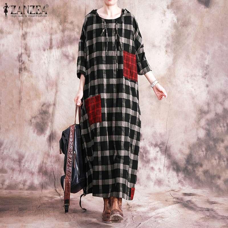 Women Check Stiching Maxi Dress ZANZEA Elegant Plaid Hooded Sundress Spring Long Sleeve Vestidos Female Shirt Robe Plus Size