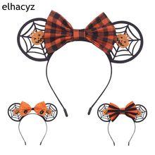 9pcs/lot Spider Web Festival Halloween Hairband For Women Glitter Felt Plaid Bow Minnie Mouse Ears Headband Kids Hair Accessorie