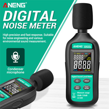 ANENG GN101 Digital Noise Meter Measurement 35-135 db Intelligent Sound Level Meter Decibel Monitor Logger  Diagnostic-Tool ht 90a mini portable sound level meter with lcd screen display 30 130db instrumentation noise decibel monitoring testers