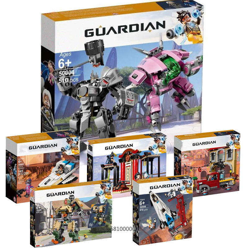 2019 Overwatchingly Games Bastion Mecha D.Va & Reinhardt Set Building Blocks Bricks Toys Figures For Kid Gift 75974