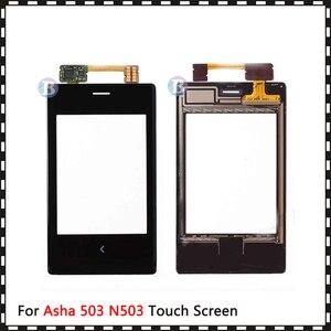 """Image 2 - 高品質 3.0 """"ノキアアーシャ 503 N503 タッチスクリーンアウターガラスレンズパネル黒"""