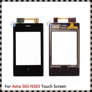 """Image 2 - Yüksek kalite 3.0 """"Nokia Asha 503 için N503 dokunmatik ekran Digitizer sensörü dış cam Lens paneli siyah"""