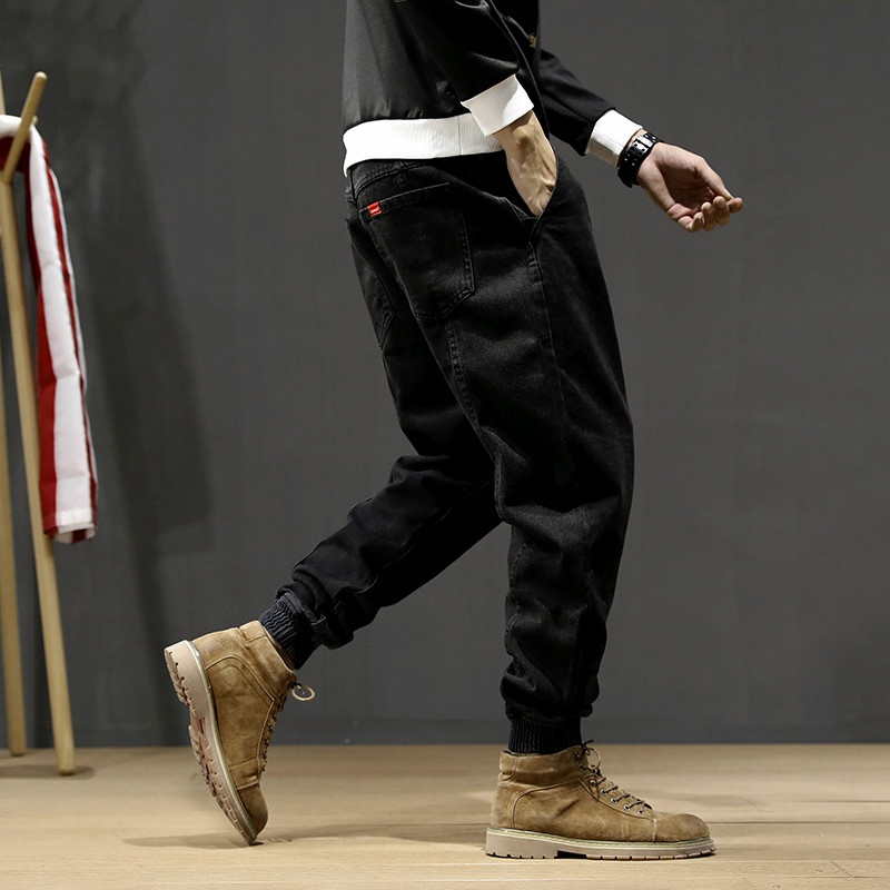 Japanese Style Fashion Men Jeans Loose Fit Spliced Designer Cargo Pants Hombre Harem Jeans Streetwear Hip Hop Jeans Men Joggers