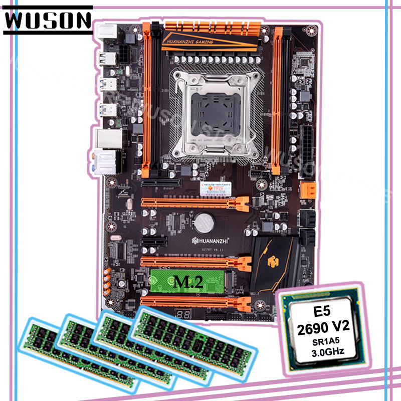Brand New HUANANZHI Deluxe Discount X79 LGA2011 Motherboard With M.2 NVMe CPU Intel Xeon E5 2690 V2 3.0GHz RAM 64G(4*16G) RECC