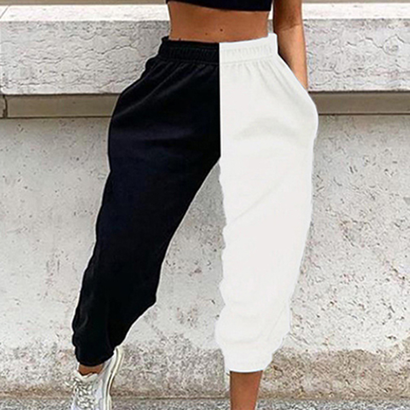 GAOKE Casual Sporty Women Sweatpants Spring Fashion 2020 Patchwork Trousers Workout High Waist Color Blocking Long Pants Slim