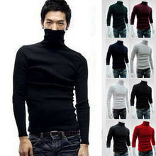 Hot Fashion Tinggi Leher Slim Jaket Jumper Pria Merajut Lapisan Kaos Pria Lengan Panjang Katun Musim Dingin Turtleneck Sweater Solid Tops(China)