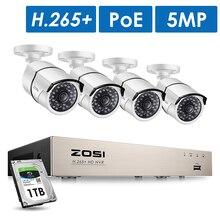 ZOSI H.265 8CH 5MP POE безопасности Камера Системы комплект 4 шт. 5MP HD IP Камера открытый Водонепроницаемый CCTV видео наблюдения NVR набор для приготовления чая 1 ТБ