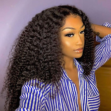 Human-Hair-Wigs Frontal Deep-Curly Natural-Color 360-Lace with Middle-Part 200density