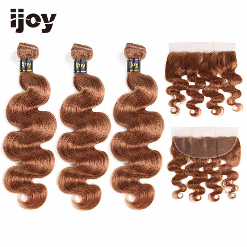 "Body Wave Human Hair 3 Bundles With Frontal 4x13 Lace #30 Brown Caramel 8""-26""  Brazilian Hair Weave Bundles Non-Remy IJOY"