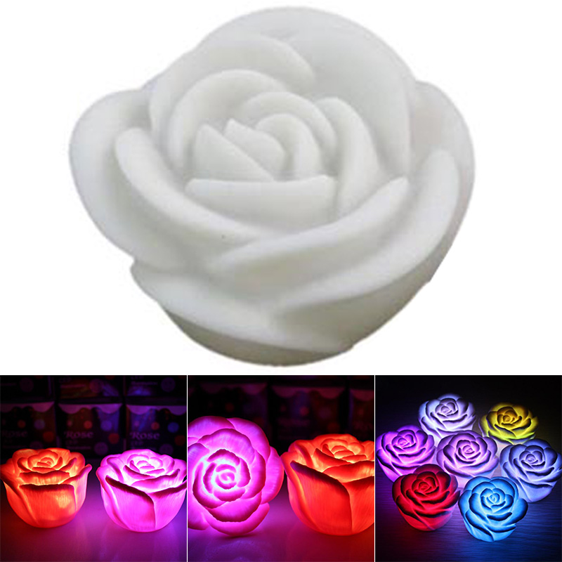 Romantic LED Floating Rose Flower Candle Night Light Colorful Wedding Decoration Bedroom Party Indoor Decor LXH