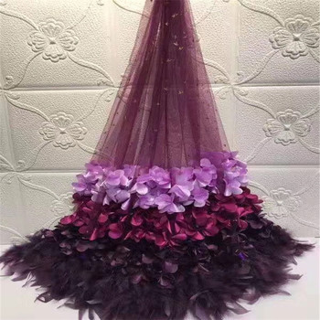 2019 New Style French Net Lace Fabric 3D Flower Latest African Tulle Mesh Lace Fabric High Quality African Lace Fabric zx82-601