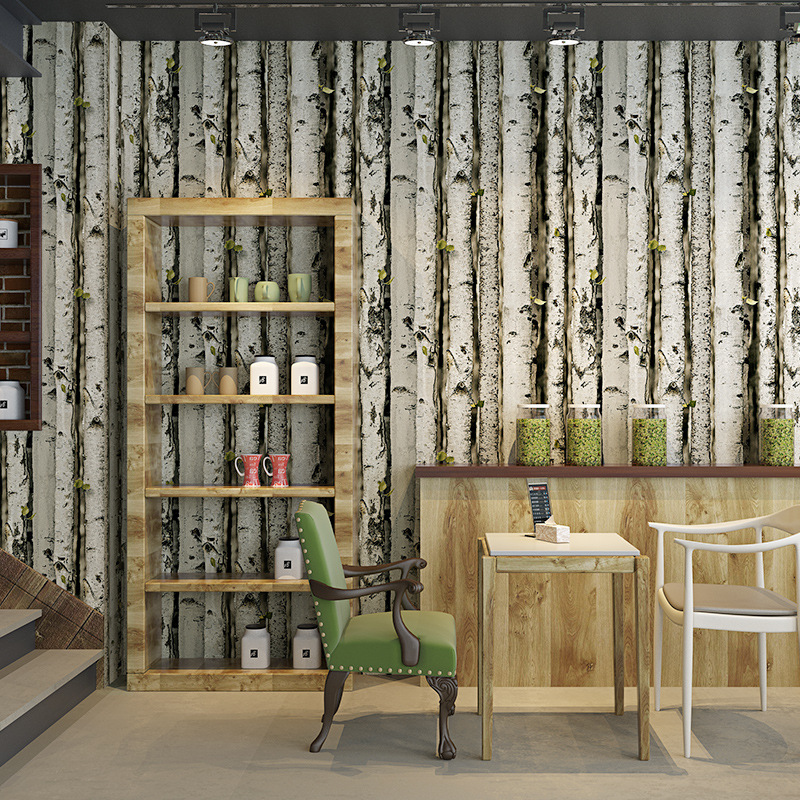 Cheng Shuo Wallpaper Cool Branch Silver Birch Forest PVC Wallpaper Living Room Bedroom Television Sofa Wall Wallpaper