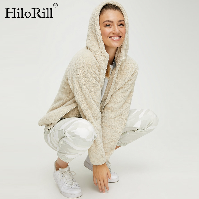 Winter Zipper Coat Women 2020 Autumn Warm Solid Hooded Teddy Faux Fur Coat Long Sleeve Casual Pocket Fleece Jacket Outwear