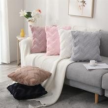 Бело синяя подушка в стиле бохо плюшевая с кисточками Геометрическая