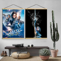 Canvas Print Modern Movie Solid Wood Hanging Scrolls Paintings Nordic Style Home Decor Wall Art Girls Posters