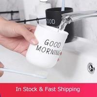 1 stücke Einfache Nordic Reise Tragbare Waschen Tasse Hause Paar Kunststoff Gute Morgen Zahnbürste Lagerung Tasse Bad Tumbler Produkt