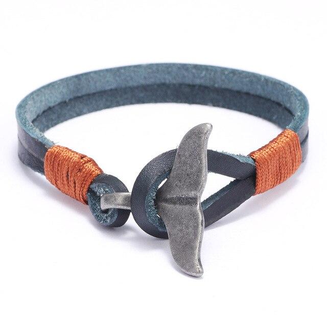 Antyczne ręcznie robione skórzane bransoletki fantazyjne wieloryb ogon Viking Braclet dla mężczyzn opaska biżuteria Homme erkek bileklik
