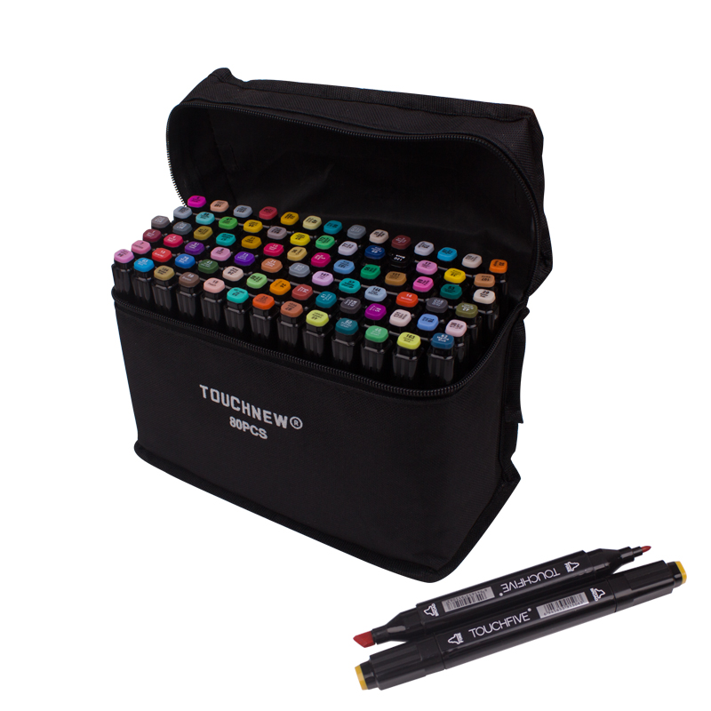 TOUCHFIVE Markers Pen 80 Colors Art Sketch Twin Marker Pens Broad Fine Point Graphic Manga Anime Markers Graffiti Art Supplies