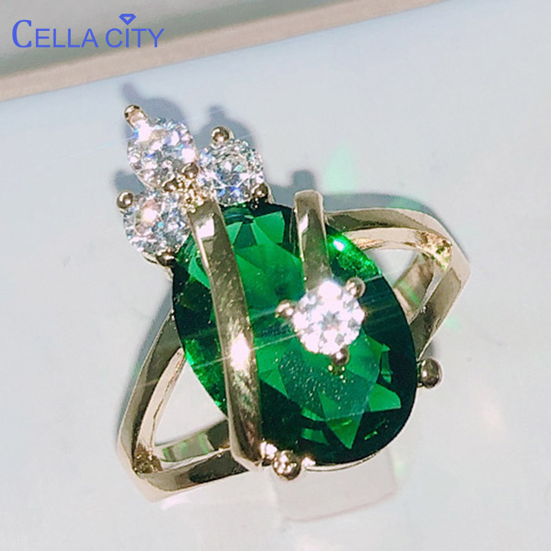 Cellacity Delicate Silver 925 Jewelry Emerald Rings For Women Oval Gemstones Crown Shape Anniversary Party Queen Princess Ring