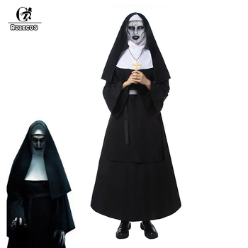 ROLECOS The Nun Cosplay Costume Halloween for Women Conjuring 2 Long Dress Adult Horror Ghost