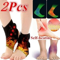 1 Pair Black Tourmaline Self-heating Ankle Brace Adjustable Foot Pain Relief Support Magnetic Therapy Compression Straps Guard