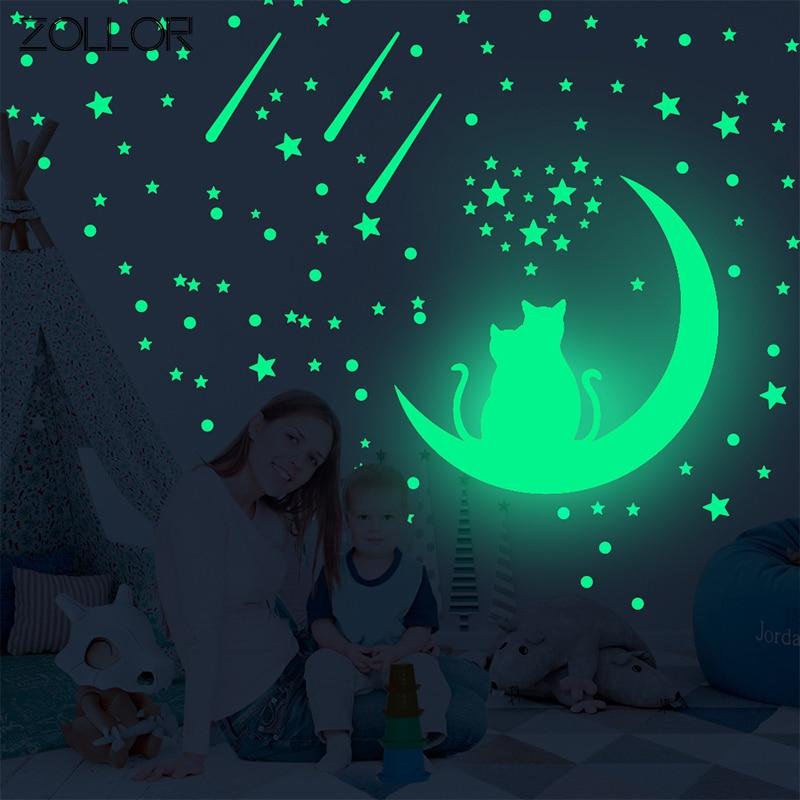 Zollor Luminous Stars Cat Moon DIY Wall Sticker Glow in Dark Ceiling Household Baby Children Room Decoration Sticker Mural Decal