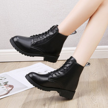 Women Boots Ankle Shoes Autumn Winter PU Leather Plush Warm
