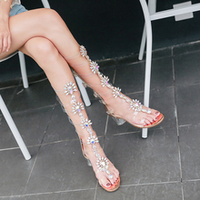 Sexy Pvc Transparent Gladiator Sandal Woman Open-toed shoes