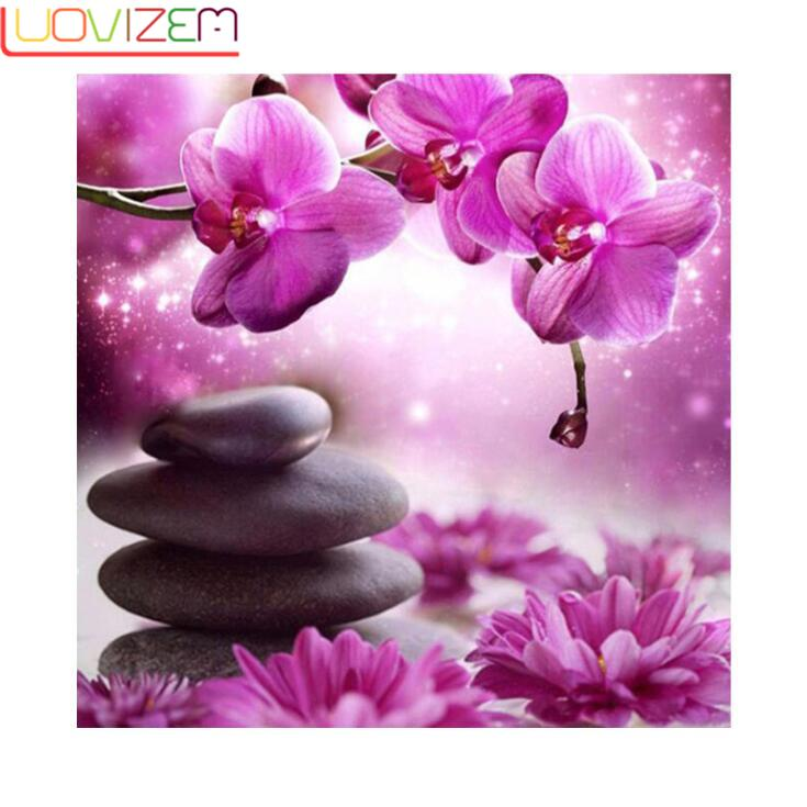 New DIY Diamond Painting Purple Flower 5D Round Embroidery Landscape Cross Christmas Decoration
