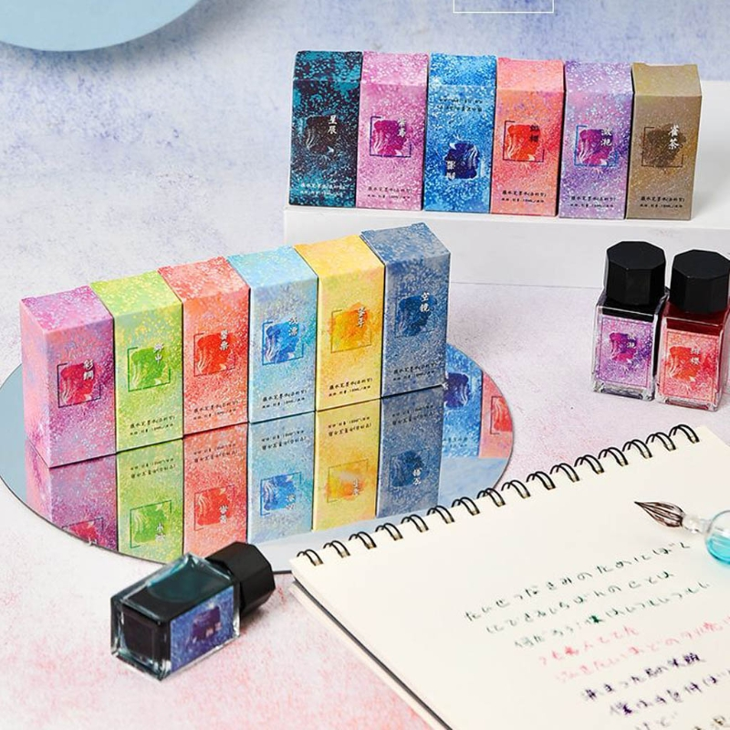 12 Colors Glass Bottled Smooth Writing Fountain Pen Non-carbon Ink for Refilling Inks Stationery School Office Supply