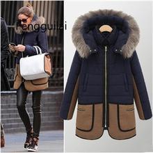 цена на Patchwork Faux Fur Parkas Women Warm Winter Coat Fur Hooded Parka Thicken Overcoat Jacket Outwear Winter Women Windbreaker