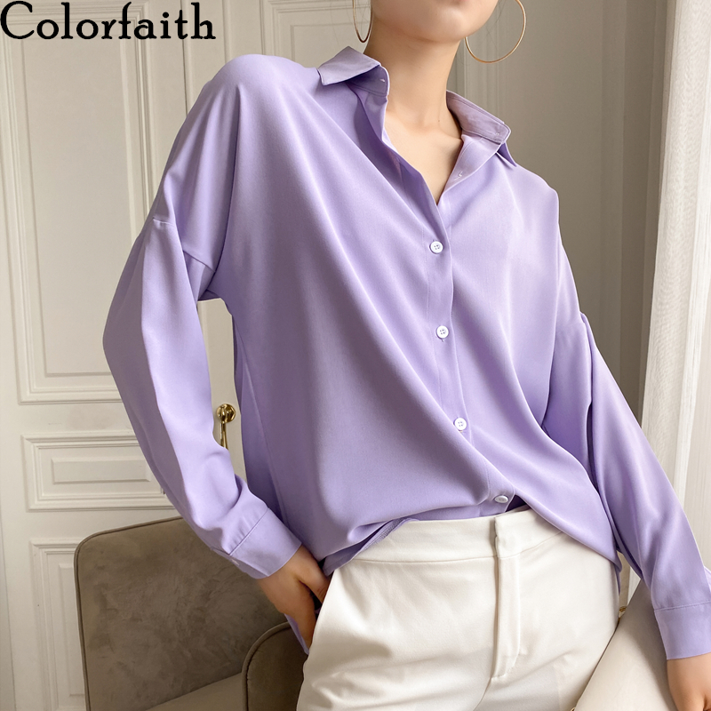 Colorfaith New 2020 Summer Women's Blouse Solid Multi Colors Lapel Single-breasted Elegant Casual Oversize Wild Pink Tops BL1383