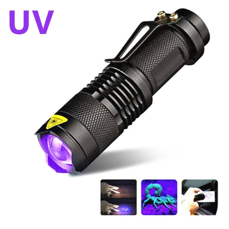 395NM LED UV Night Flashlight Ultraviolet Torch With Zoom Function Mini UV Black Light Pet Urine Stain Detector Scorpion Hunting