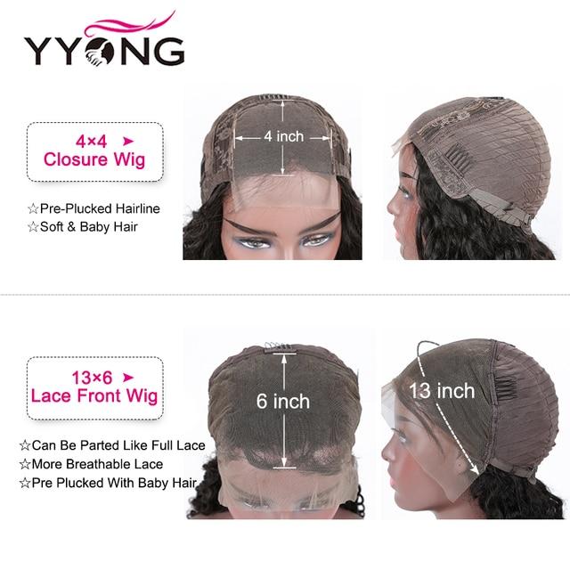 YYong 4x4 zamknięcie koronki peruki i 13x6 koronki przodu peruka malezyjski Water Wave ludzki włos Remy koronki przodu peruki pre-oskubane 150 gęstości