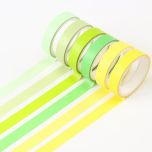 Simple Solid Color Washi Masking Tape Sticky Decorative Paper Tape Set DIY Decoration Office Stationery Scrapbook 6PCS/Bag