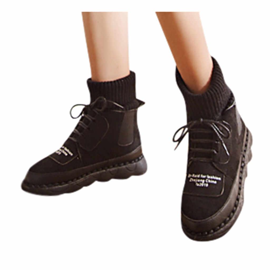 Bayan botları kış kayış kar diz Bootie sıcak kaymaz bot ayakkabı bayanlar dantel-up tutmak sıcak düz topuk yuvarlak çorap botları