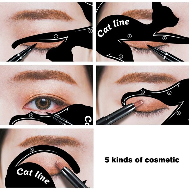2 pcs/set Fashionable Women Cat Line Eye Makeup Eyeliner Unique Stencils Templates Makeup Tools Kits For Eyes Eyeliner Tools 1