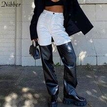 Nibber – pantalon droit Style Punk Y2K en cuir pour femme, vêtement Design Patchwork noir et blanc, taille haute, Slim, automne 2020