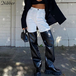 Nibber Punk Y2K Style Black White Patchwork Design Pants Women Straight High Waist Slim Leather trousers 2020 Autumn Casual Wear