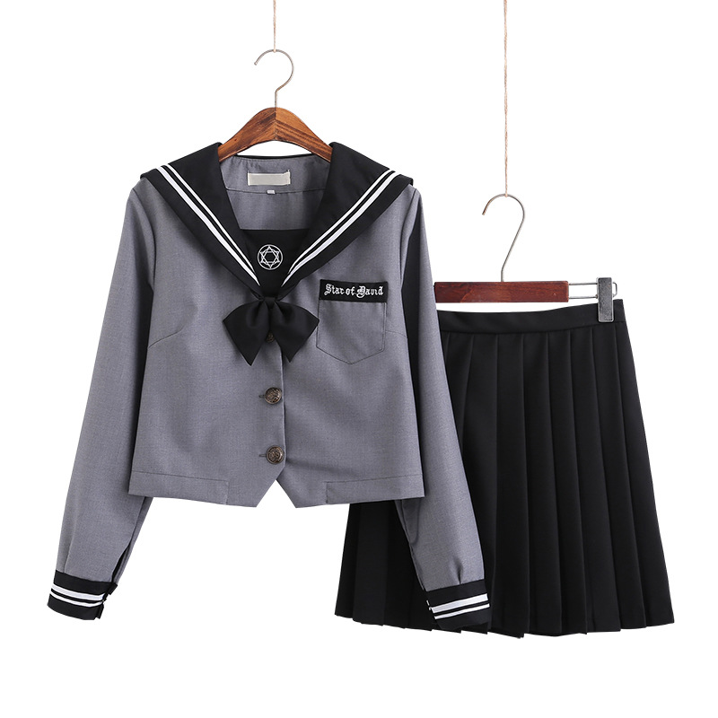 School Dresses Japanese Jk Uniforms Gray Sailor Suit Anime Form Pleated Skirt Uniform Dress For High School Girls Students