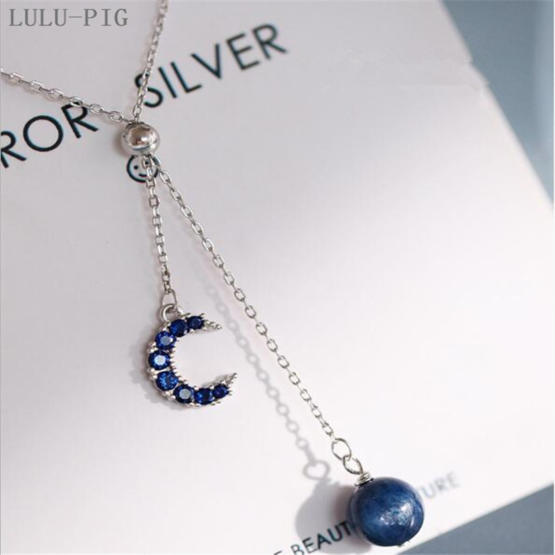 LULU-PIG New User BONUS Hot selling Silver plated dream deep blue micro moon fringed adjustable star necklace woman C086 image